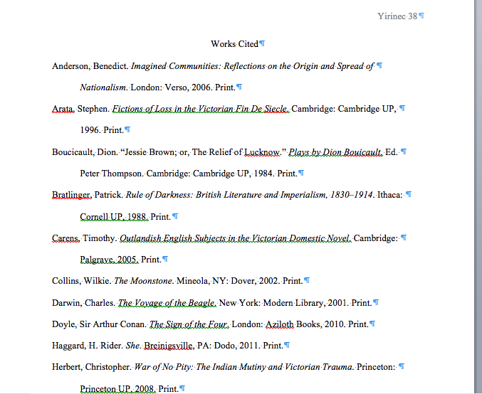 Formatting the Works Cited Page (MLA)