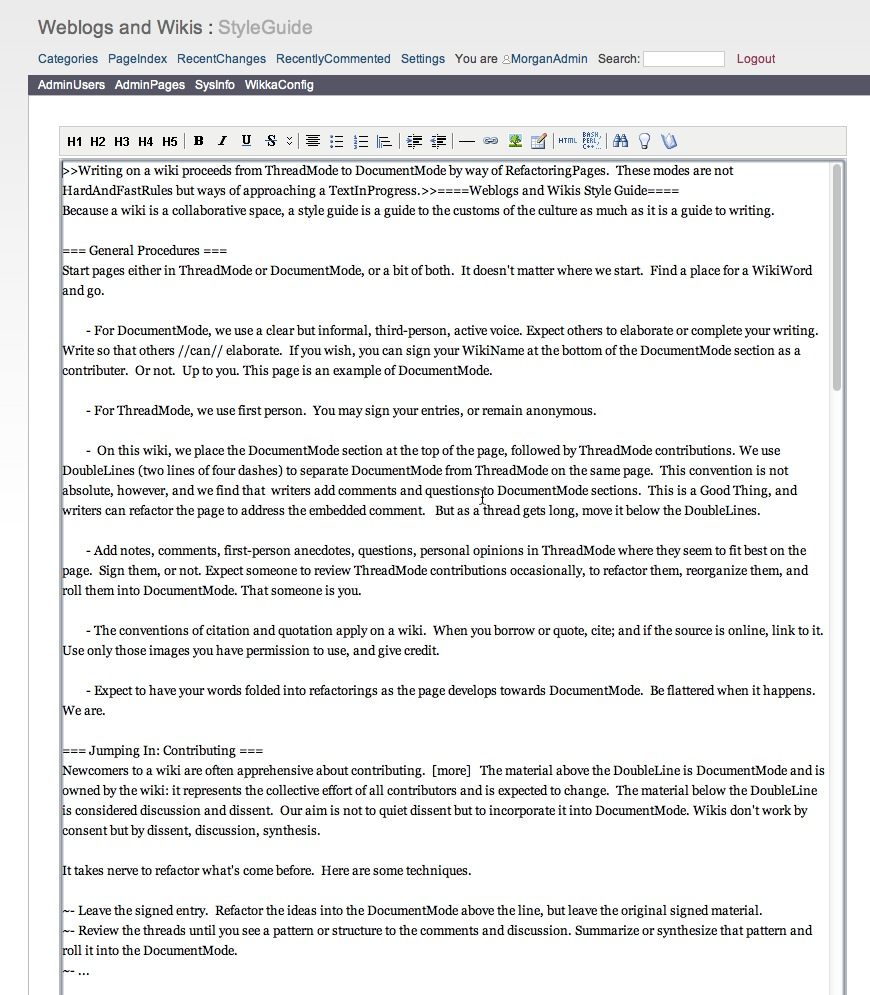 Morgan styleguide page being edited doc mode