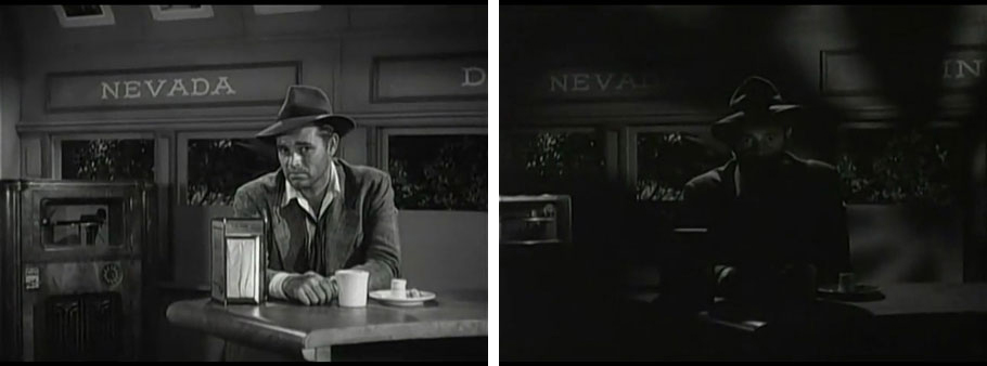 two still  images from diner scene, one considerably darker than the other